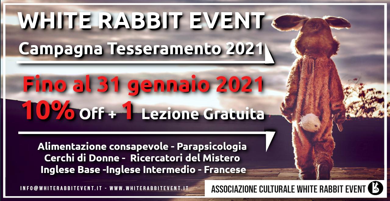 Tesseramento - white rabbit event -università -scuola -associazione -biella -corsi -tour -libri -parapsicologia -alimentazione -workshop -cerchi di donne